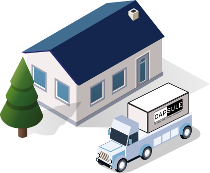 CAPSULE truck next to house