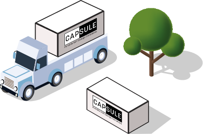 CAPSULE truck next to a tree and CAPSULE