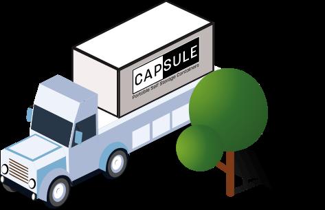 CAPSULE truck next to tree