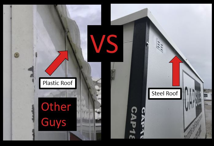 choose  moving service : Plastic roof vs CAPSUEL steel roof Capsule has better quality containers than pods, packrat, mibox, u hual or anyone else